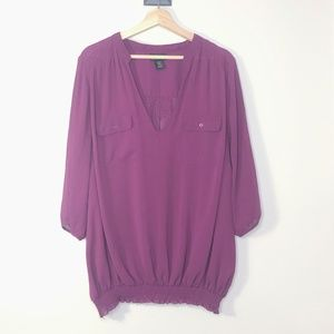 Lane Bryant Purple Two Pocket Elastic Hem Blouse